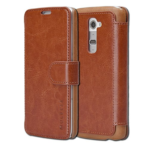 Mulbess Two-Tone Design Phone Wallet for LG G2 Case, Leather Phone Case for LG G2, Brown