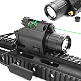 Higoo 2 in 1 Tactical Green Laser Dot Sight + 200 Lumen Flashlight Combo with 20mm Weaver Picatinny Rail Mount for Rifle Pistol Handgun