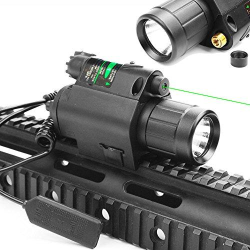 Higoo 2 in 1 Tactical Green Laser Dot Sight + 200 Lumen Flashlight Combo with 20mm Weaver Picatinny...