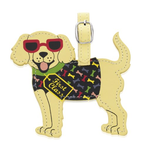 Cute dog luggage tag with first class tag