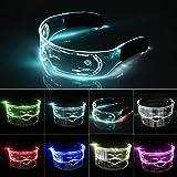 XIAMUSUMMER Gafas luminosas LED de Halloween – Gafas de neón – Cyberpunk LED Visor – Gafas de visera electrónica futurista – para fiestas, discoteca, DJ, conciertos en vivo, disfraces