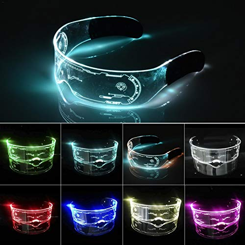 XIAMUSUMMER Halloween-LED-Leuchtbrille – Neonbrille – Cyberpunk LED-Visier Brille – Futuristische elektronische Visierbrille – für Party, Disco, DJ, Musik, Konzert, Live, Verkleidung