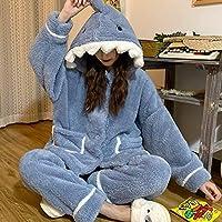漫画サメのパジャマ冬のかわいいフード付きホームサービススーツ女性厚い暖かい緩いカジュアルな服の女の子 (Color : Sky Blue, Size : One Size)