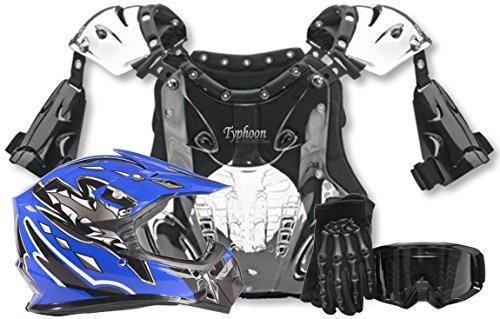 Typhoon Kids Youth Offroad Helmet Gloves Goggles Chest Protector GEAR COMBO Motocross ATV Dirt Bike MX Black Blue (XL)