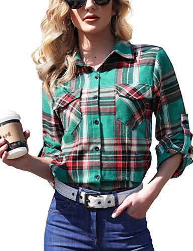 Camisa Cuadros Mujer Franela 100% Algodón Camisa Leñador Blusas Basiccon Botones Camisetas Cuello...