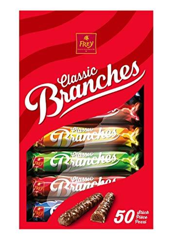 Frey Branches Classic Schokoriegel 50er-Pack - Milchschokoladen-Riegel mit Haselnusscremefüllung - Schweizer Schokolade - Großpackung 50 Stück à 27g einzeln verpackt / 1350 g