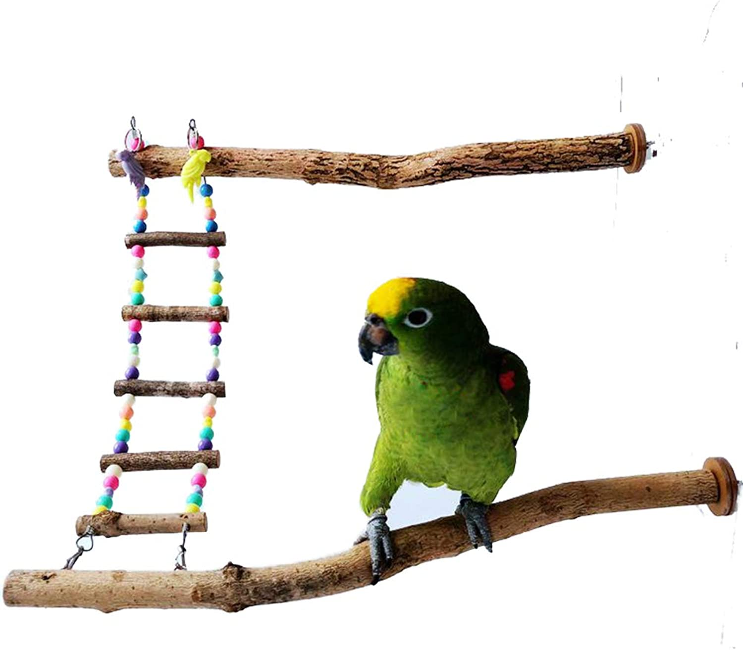 Bonaweite Bird Parred Toys, Naturals Wood for Pet Trainning Playing, 2 Stand Bars + Ladder Set for Cockatiel Conure Parakeet