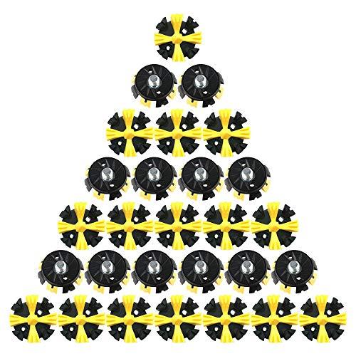 Histar 28-teiliges Spikes-Set, Ersatz für Golfschuhe, Metallgewinde-Schraubbolzen, Stachelschrauben mit kleinem Metallgewinde für Golfschuhe, Black+Yellow