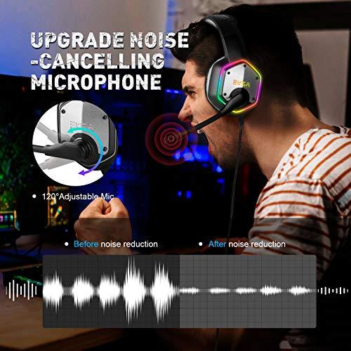 EKSA E1000 Gaming Headset für PS4 PC Xbox One, Over-Ear Gaming Kopfhörer mit 7,1 Surround Sound 50MM Treiber und Rauschunterdrückung Mikrofon, buntes RGB-Licht, für Laptop Mac Tablet (Schwarz)