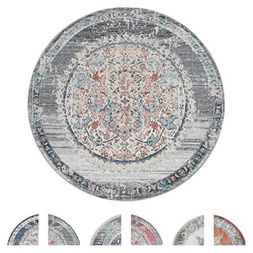 Tapis Exterieur Rond, Balcon Salon Cuisine Vintage Oriental Pastel, Div. Coloris, Dimension:Ø 200 cm Rond, Couleur:Gris