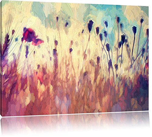 Pixxprint Mohn im Weizenfeld Kunst Pinsel Effekt, Format: 120x80 auf Leinwand