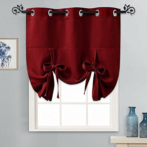 PONY DANCE Decorative Window Curtains - Thermal Kitchen Blackout Shades for Christmas Home Decor Energy Saving Tie Up Valance Balloon Shade Grommet Top for Door, Set of 1, 46 W x 63 L, Red