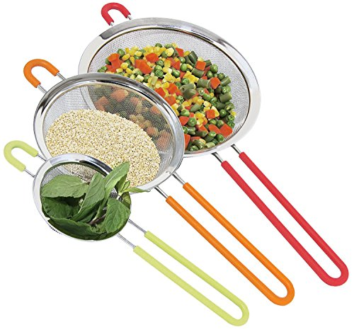 K BASIX Fine Mesh Stainless Steel Strainer with Silicone Handle Set of 3  Large Medium amp Small Size  Ideal to Strain Pasta Noodles Quinoa Tea Sift amp Sieve Flour amp Powdered Sugar  Free EBook