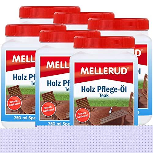 Mellerud Holz Pflege-Öl Farbton Teak 750ml - Spezial-Pflege (6er Pack)