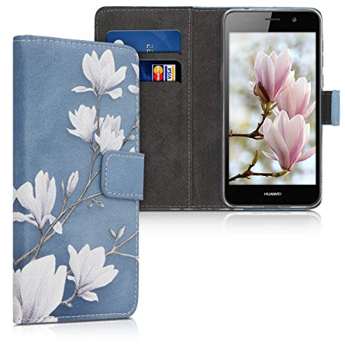 kwmobile Custodia Compatibile con Huawei Y6 (2015) - Cover Magnetica Portafoglio con Stand in Simil Pelle - Case Porta Carte - Magnolie Marrone Grigio/Bianco/Grigio Blu