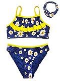 SHEKINI Bikini de Tres Piezas para Niñas Conjunto de Diadema Correas Espaguetis con Volantes Bikini de Cintura Baja Pantalones Traje de Baño de Leopardo Dulce Bikini (Azul, 8-10 años)