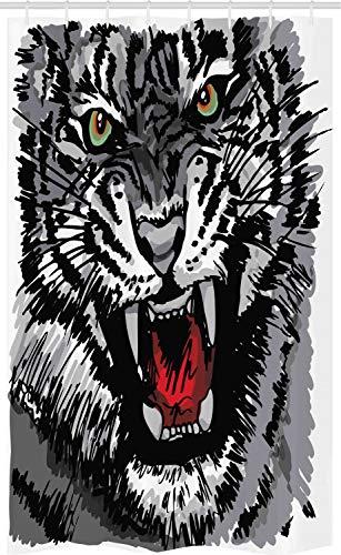 ABAKUHAUS Safari Douchegordijn, Tiger Roars, voor Douchecabine Stoffen Badkamer Decoratie Set met Ophangringen, 120 x 180 cm, Grijs Zwart Wit
