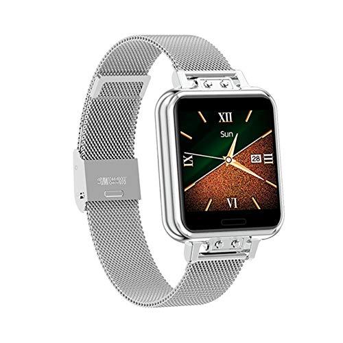 YNLRY Reloj inteligente para mujer, con tacto completo, impermeable, para fitness, presión arterial, deportivo, reloj inteligente para mujer, GTS Smartwatch (color plateado)
