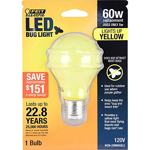 FEIT Electric A19/BUG/LED Non-Dimmable Led Bug Light, 5 W, 120 V, 400 Lumens, 2.35 In Dia, 4' H x D, Yellow