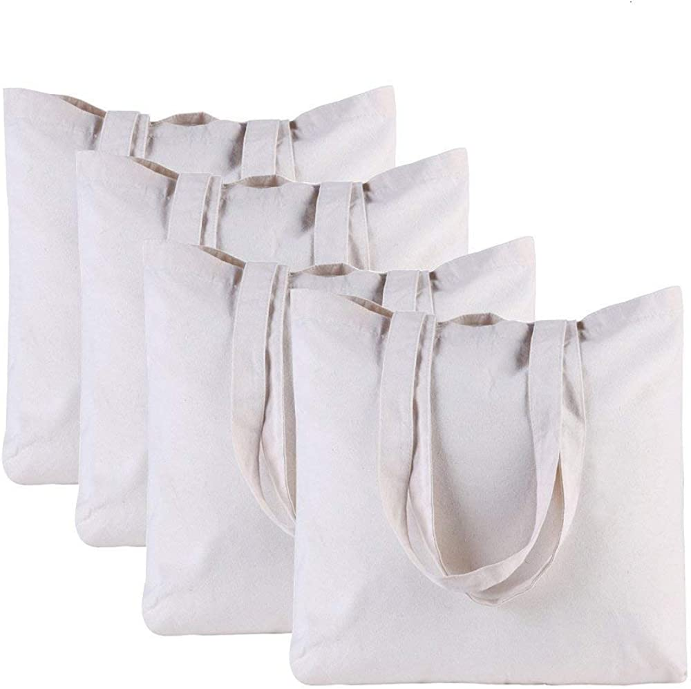 Kaptin 4 Selling Pack Plain Washable Resuable Tote Shopping Bag Max 87% OFF Canvas