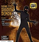 Shadow Demon Fading Eyes Light Up! Kids Child Halloween Costume Full Body Suit and Hood (Child Medium (8-10)) Black