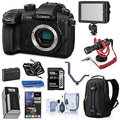 Panasonic LUMIX GH5 4K Mirrorless Digital Camera, 20.3 Megapixel DC-GH5 (Body), Essential Bundle with LED Light, RODE VideoMicro Mic, Backpack, Battery, Charger, 128GB SD Card and Accessories by Panasonic