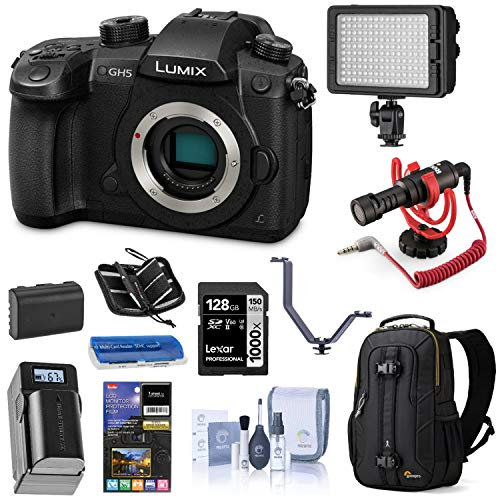 Panasonic LUMIX GH5 4K Mirrorless Digital Camera, 20.3 Megapixel DC-GH5 (Body), Essential Bundle with LED Light, RODE VideoMicro Mic, Backpack, Battery, Charger, 128GB SD Card and Accessories