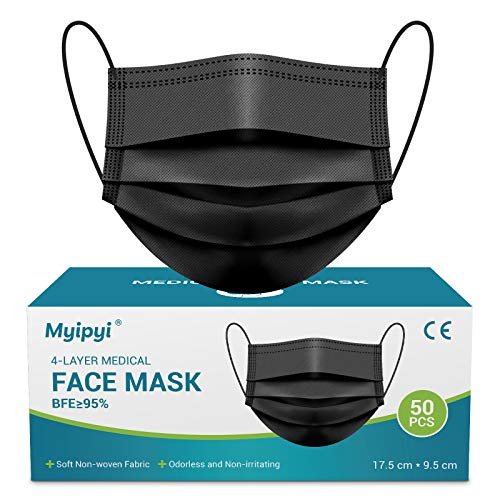 4 Ply Black Disposable Face Masks 50 PCS Medical Mask with Metal Nose Wire for Glasses Wearers, Breathable Face Mask Mouth Cover for Men & Women