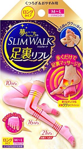 夢みるここちのスリムウォーク 足裏リフレ M-Lサイズ ソフトピンク(SLIM WALK,detachable cushion for arch...