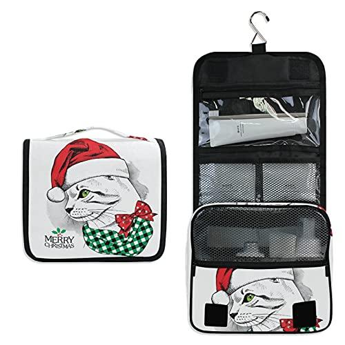 Gatito Gato De Navidad Bolsa de Aseo Colgante Organizador Cosmético de Viaje Ducha Bolsa de Baño Neceser de Viaje para Maquillaje niñas Mujeres