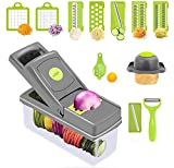 B BSIASIO Vegetable Chopper With Container Onion Chopper, Egg Slicer, Slicer, Vegetable Slicer, Professional food chopper,8 blades