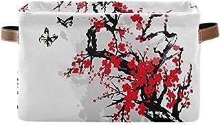 DOSHINE Panier de rangement japonais avec poignées et motif arbre à fleurs et papillons - Grand cube de rangement pliable ...