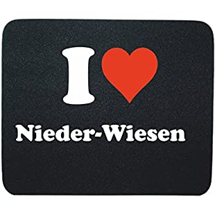 "Exclusive Gift Idea Mouse Pad ""I Love Nieder-Wiesen"" in Black, a Great gift that comes from the heart - Non-slip mousepad- Christmas Gift:Carsblog"