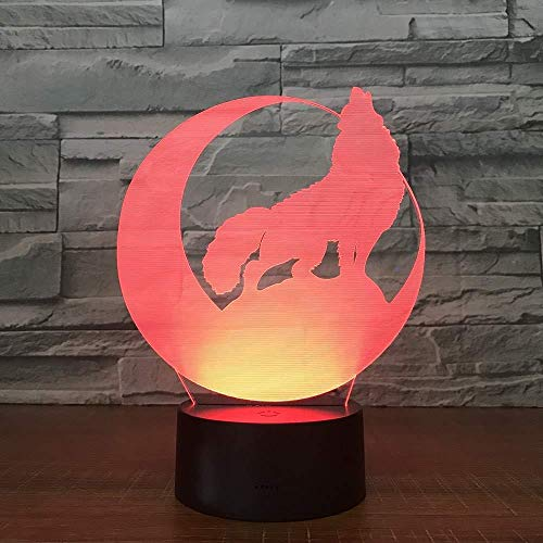 vbgdf 3D Night Ligh Children s Night Light Wolf Moon Power Bank Wireless Wall Change Best Gifts Illusion 7 Colors Change Halloween Family Friends Acrylic Best Gifts Kids Birthday USB