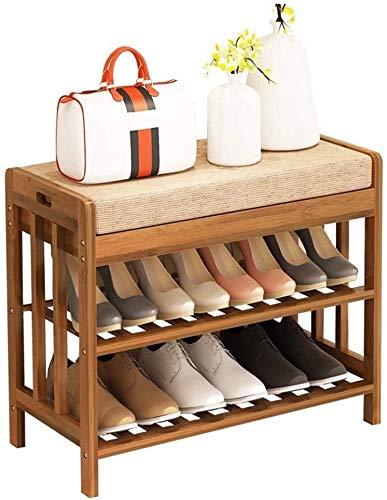 ZouYongKang Banco de Zapatos de 2 Niveles, Organizador de Zapatos de Entrada, Estante de Almacenamiento de bambú, con Asiento Cojín de zapatería Entrada Sala de Estar Dormitorio (Size : 70cm)