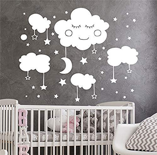 wandaufkleber baum mit fotos Wolken Wandtattoo Sterne Aufkleber Vinyl Aufkleber Mond Kunst Baby Room Decor Kinder Aufkleber Baby Kinderzimmer Aufkleber