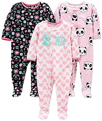 Simple Joys by Carter's Girls' 3-Pack Loose Fit Flame Resistant Fleece Footed Pajamas, Sister/Panda/Floral, 18 Months