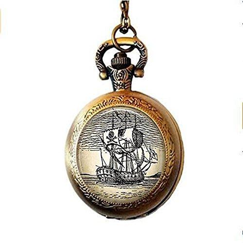 stahpk Kroko Captain Hook 's Piratenschiff Taschenuhr Halskette Piraten Taschenuhr Halskette Vintage Illustration–Taschenuhr Halskette Piratenschiff