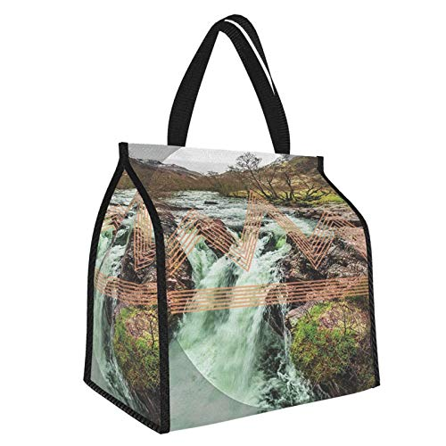 Geometric Decor Enchanted Forest Mountains In Spring Season Waterfall Hipster Design Chevron Pattern Nature Themed For Green Brown White Large Insulated Cooler Bag Picnic Freezer Bag 30l, Freezer Bagpicnic Camping Beach Tour Bbq