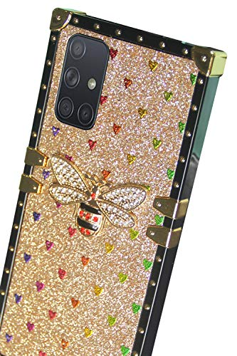 galaxy A71 case square compatible with Samsung Galaxy A 71 cases bling cute bee trunk rectangle cover girly box galaxya71 samsunga71 71a glitter luxury stylish girls women bumper funda 6.7 inch (gold)