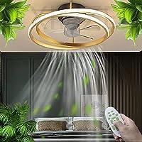 LED照明付きシーリングファン、リモコン付き30W調光可能シーリングライト、見えない静音、調節可能な風速、リビングルームの寝室用 (Ø45CM),金