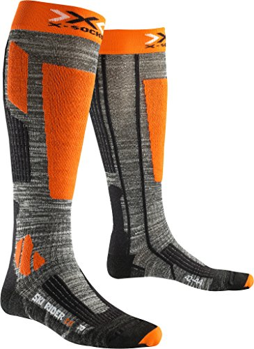 X-Socks Ski Rider 2.0, Calze Uomo, Grigio Melange/Arancione, 39/41