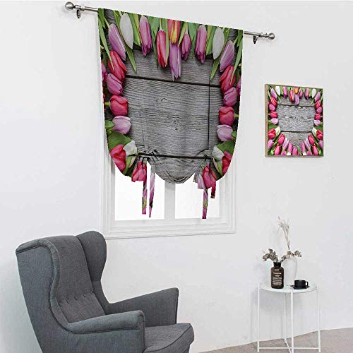 GugeABC Love Blackout Curtains, Frame of Fresh Tulips Arranged on Wooden Table Country Nature Valentines Print Room Darkening Roman Shades, Pink Green Umber, 48' x 64'