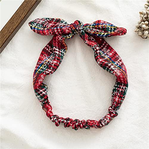 MLOPPTE Navidad,Decoración navideña Copo de Nieve Rejilla Bandas para el Cabello Lindas niñas Adultas Accesorios para el Cabello Navidad Año Nuevo Nuevo Rojo