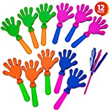 ArtCreativity Hand Clappers Noisemakers - Pack of 12-7.5 Inch Assorted Plastic Noisemakers for Sports, Parties, and Concerts - Best Birthday Party Favors and Goodie Bag Fillers for Boys and Girls