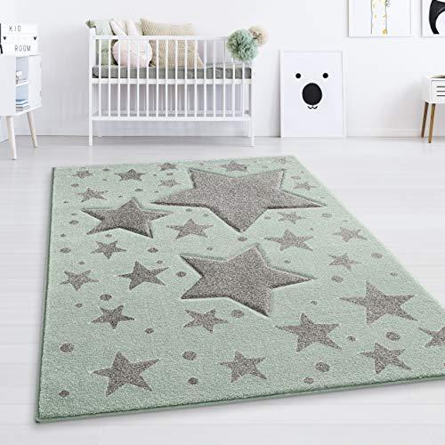 Taracarpet Kinderzimmer und Jugendzimmer Teppich Dreamland Kinderzimmerteppich Sterne Pastell Mint Gruen grau 060x110 cm