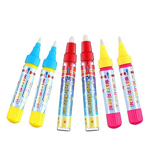 お絵かきシート 用 ペン 6本セットお絵かき お絵かきペン 落書き 絵描きシート用 ぬりえペン 水で補充 健康無毒 子供 水で描く 知育玩具 水 ぬりえ 誕生日 プレゼント 専用ペン