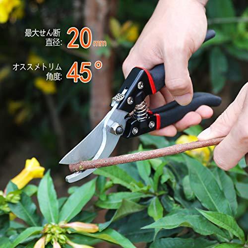 剪定鋏205mmSK-5スチール刃園芸用はさみ剪定バサミシ切断能力20mm安全ロック付き(替刃とスプリング各1本同梱)