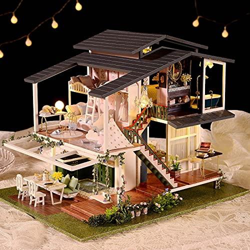 ARONTIME Casa de muñecas, kit de casa de muñecas en miniatura, con muebles y luz LED, casa de jardín romántica de madera