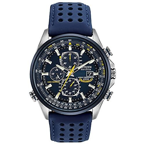 Relógio masculino Citizen Eco-Drive Blue Angels World Chronograph Atomic Timekeeping com dia/data, AT8020-03L